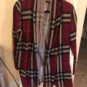Cute plaid cardigan with elbow patches
